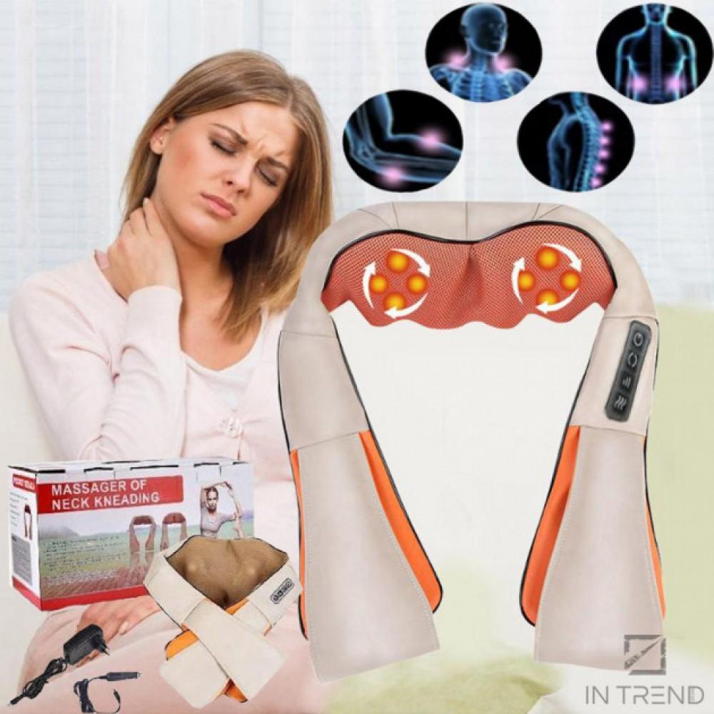 МАССАЖЕР Роликовый электрический MASSAGER OF NECK KNEADING с ИК-прогревом для спины шеи поясницы и плеч