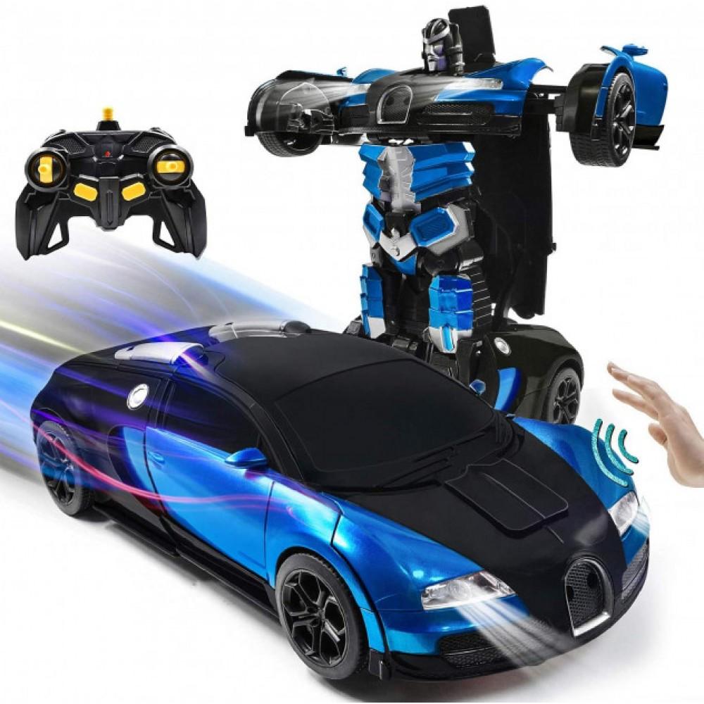 Машинка робот трансформер на радиоуправлении с пультом и встроенным аккумулятором Автобот Bugatti Robot Car