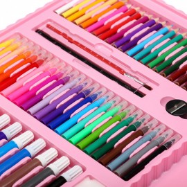 Набор для рисования и творчества с мольбертом в чемоданчике 208 предметов розовый