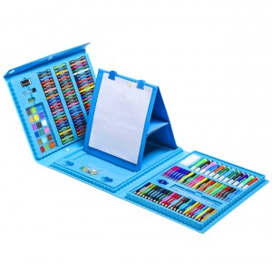Набор для рисования и творчества с мольбертом в чемоданчике 208 предметов голубой