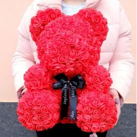 Мишка из 3d роз 40 см красный в подарочной коробке