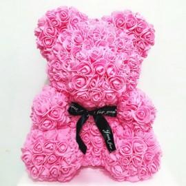 Мишка из 3d роз 40 см розовый в подарочной коробке