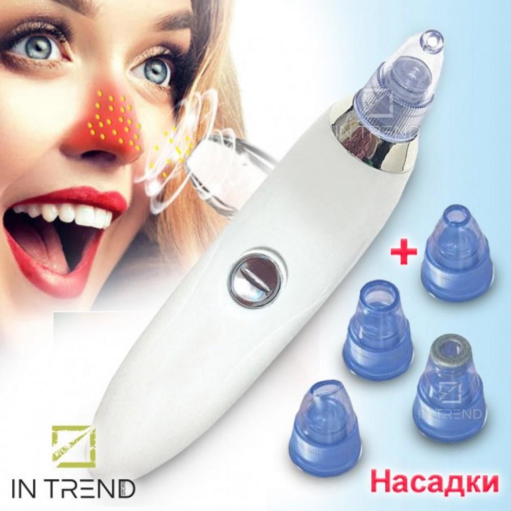 Вакуумный очиститель Derma suction DS Vacuum для профессиональной чистки кожи и пор лица - легкий компактный удобный прибор в использовании + 4 насадки